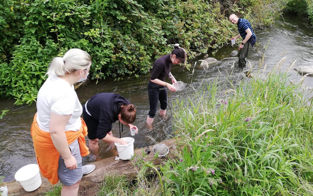 Biologen auf Fließgewässer-Exkursion
